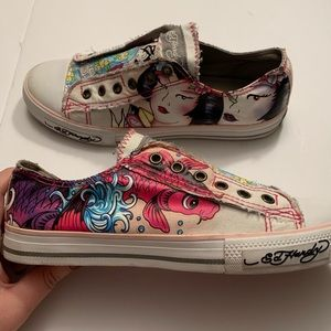 Ed Hardy no lace sneakers w/koi fish & geisha girl